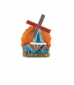 12 stuks Magneet molen oranje Holland