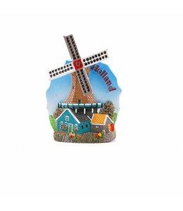 12 stuks Magneet molen blauw Holland