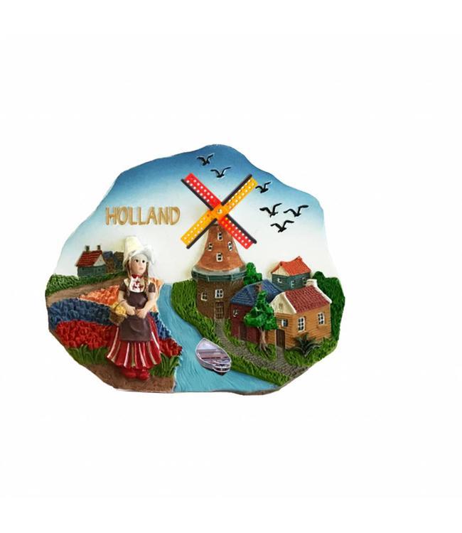 12 stuks Magneet scene tulpenveld Holland