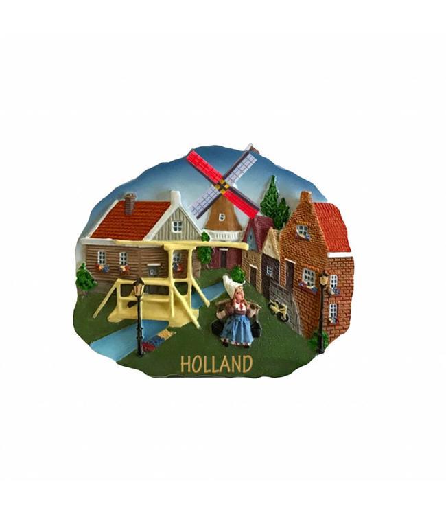 12 stuks Magneet scene dorpstafereel Holland