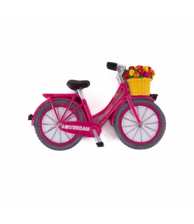 12 stuks magneet polystone fiets roze