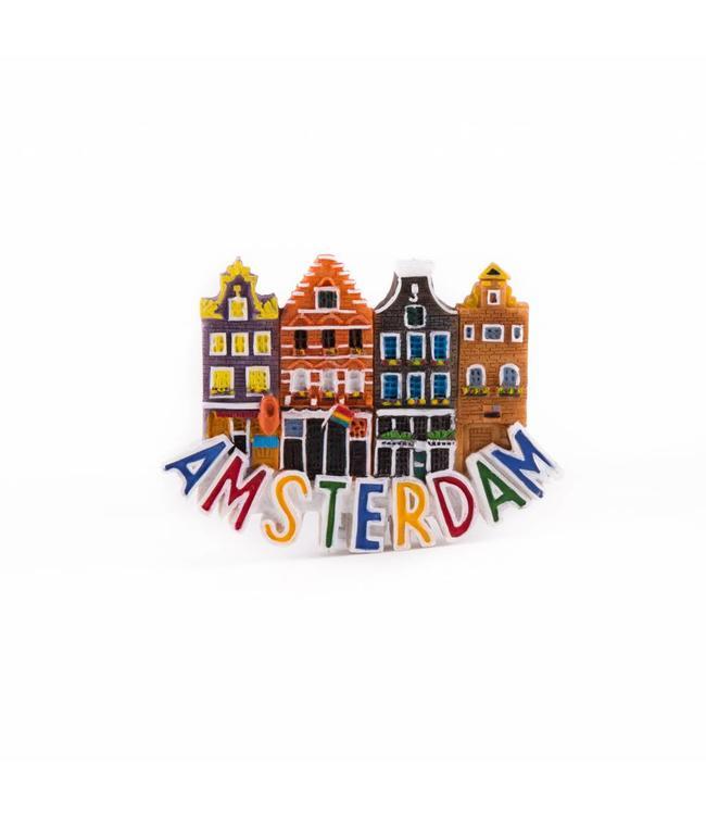 12 stuks Magneet 2D 4 huisjes Amsterdam