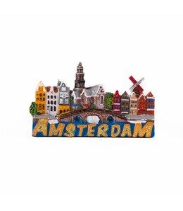 12 stuks Magneet 2D stadstafereel glitter Amsterdam