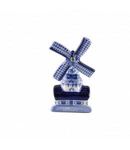 12 stuks Magneet keramiek molen 7 cm delftsblauw