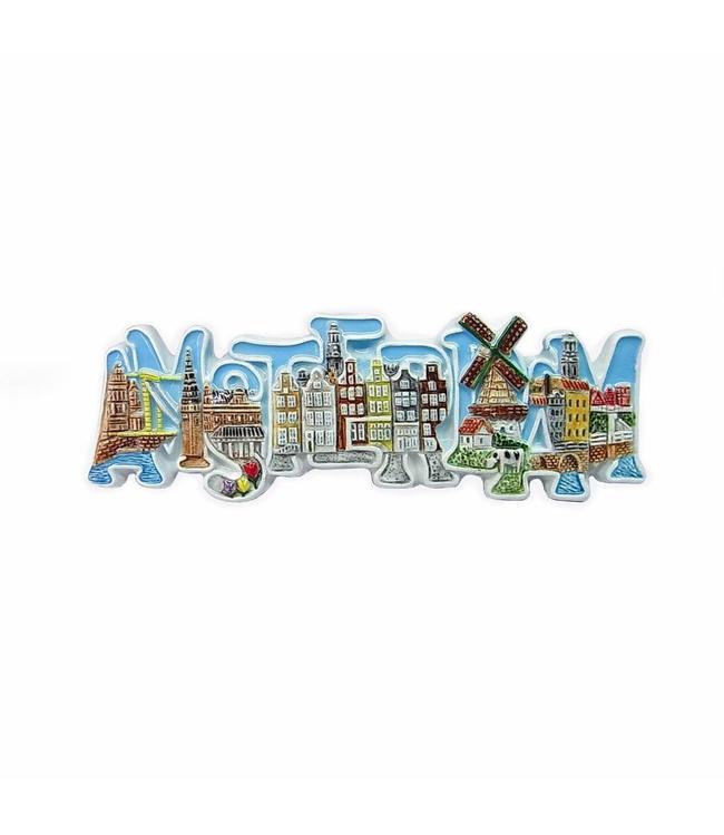 12 stuks Magneet keramiek letters color Amsterdam