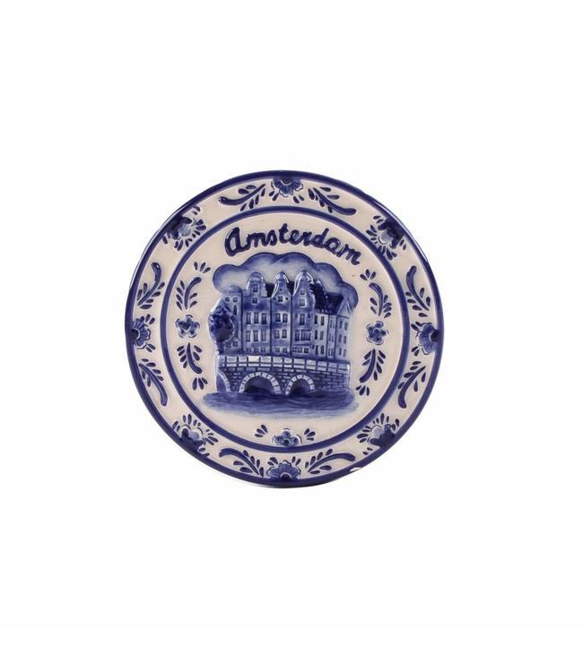 12 stuks Magneet keramiek delftsblauw rond Amsterdam