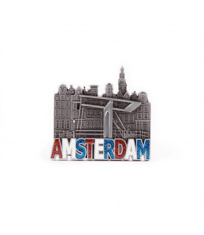 12 stuks Magneet metaal glitter Amsterdam tin