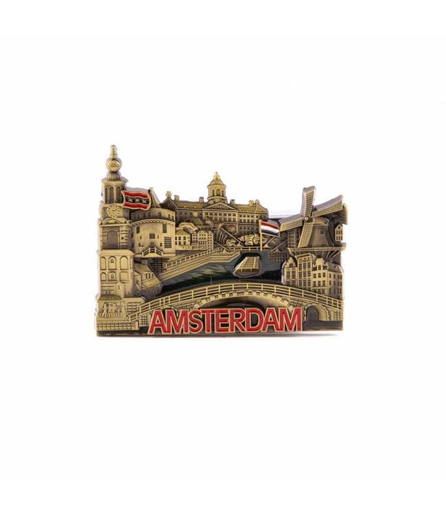 12 stuks Magneet metaal compilatie Amsterdam brons