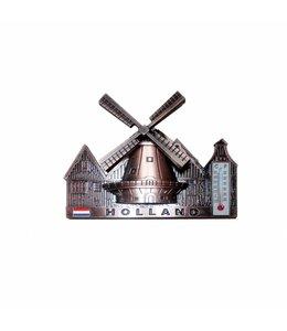 12 stuks Magneet dorpstafereel thermometer Holland koper