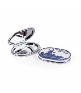 6 stuks spiegeldoosje molen delfsblauw
