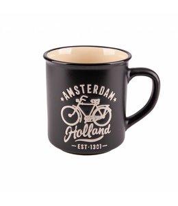 Campmug Beker Amsterdam Holland fiets zwart