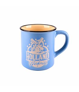 Campmug Beker Holland molen blauw