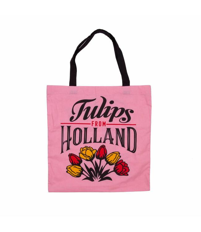 6 stuks tas katoen Holland tulpen roze
