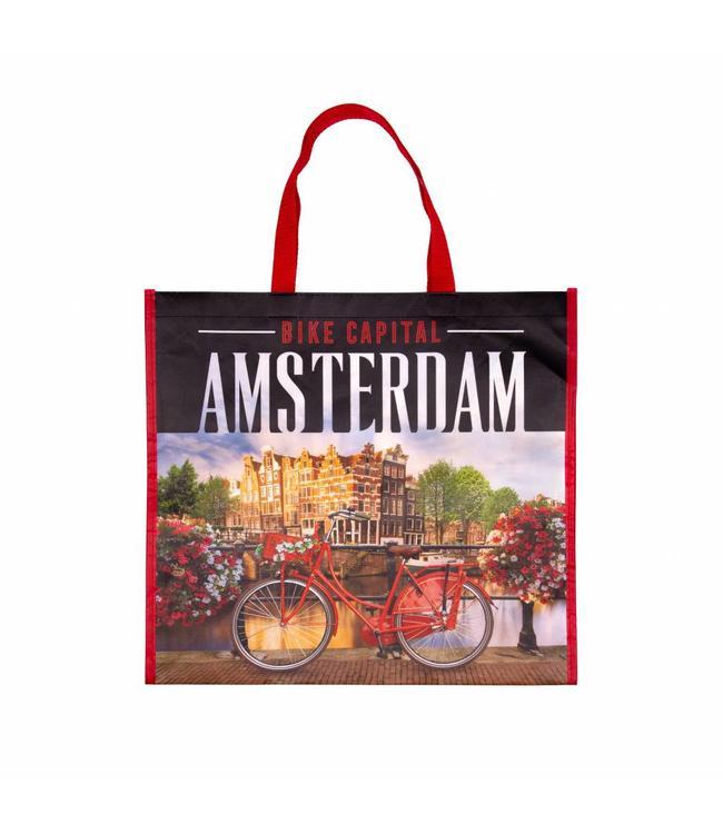 12 stuks Shopper Tas Amsterdam fiets op brug