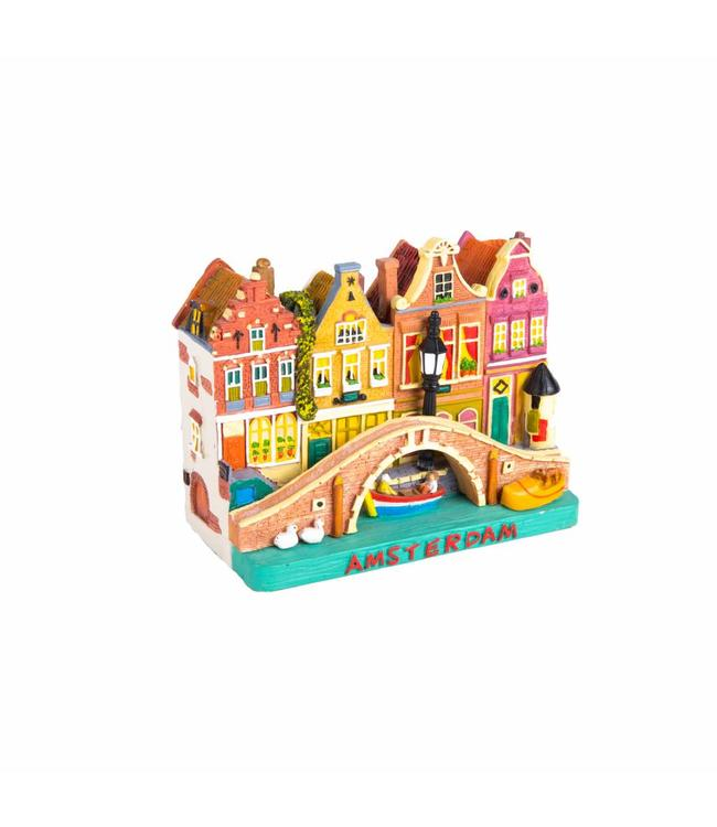 Tafereel 4 huizen Amsterdam 12 cm