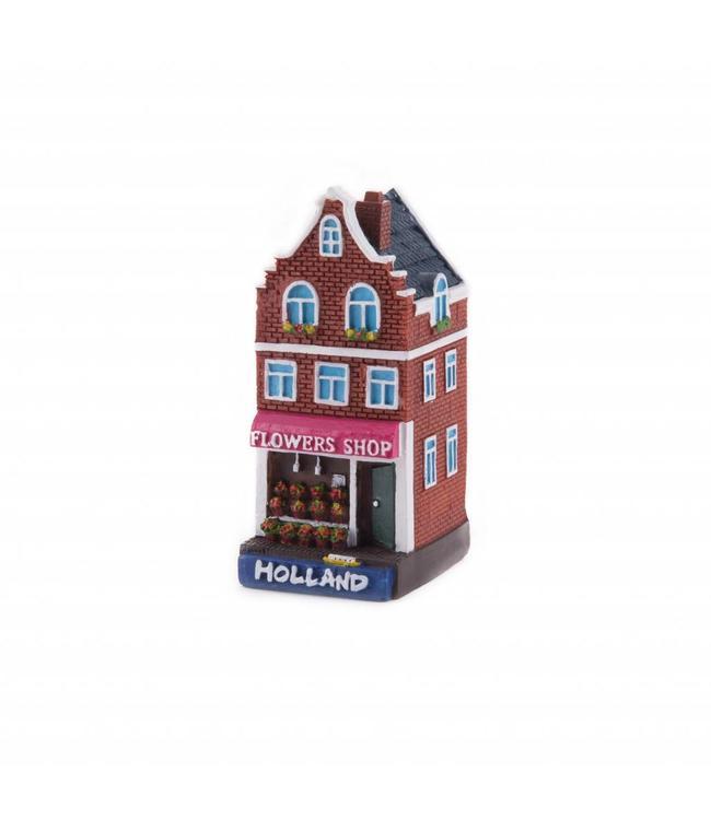 4 stuks polystone huisje Flower shop Holland