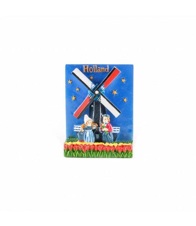 12 stuks Magneet molen met paartje Holland