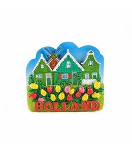 12 stuks Magneet huisjes met molen Holland
