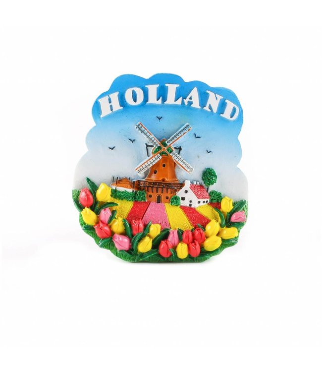 12 stuks Magneet molen met tulpenveld Holland