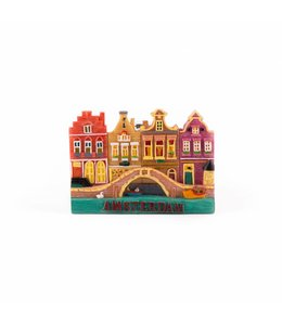 12 stuks Magneet 2D 4 huisjes met brug Amsterdam
