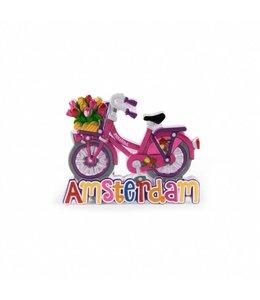 12 stuks magneet polystone fiets roze Amsterdam