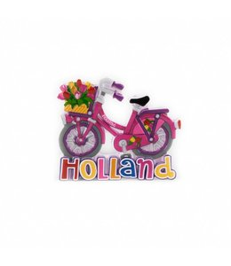 12 stuks magneet polystone fiets roze Holland