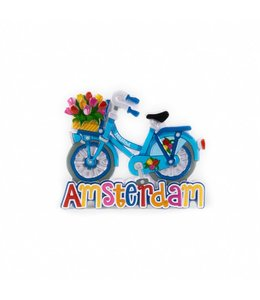 12 stuks magneet polystone fiets blauw Amsterdam