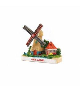 12 stuks 3D magneet poldermolen grijs Holland
