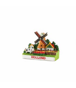 12 stuks 3D magneet molen in tulpenveld Holland