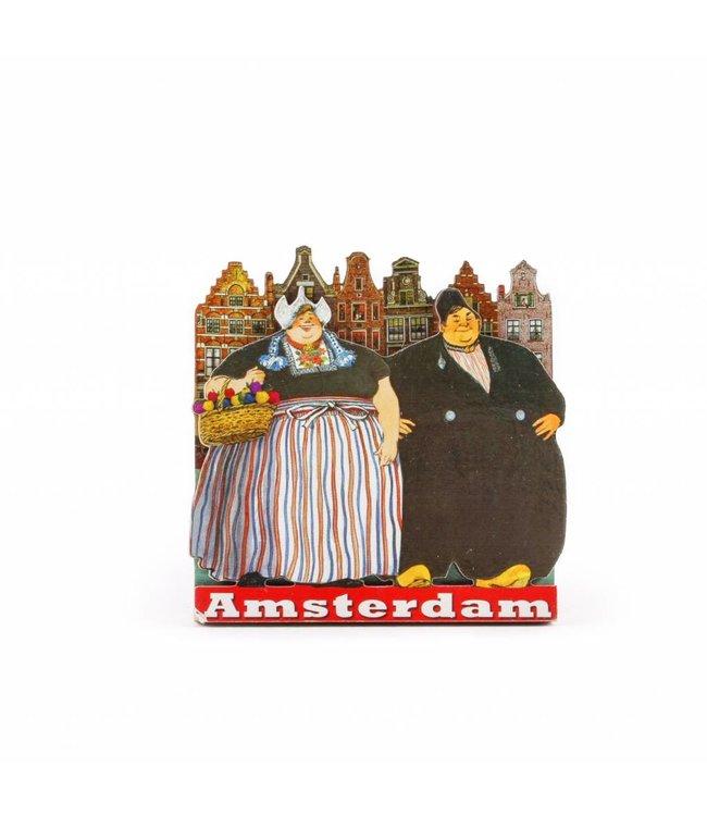 12 stuks Magneet 2D MDF dikke man en vrouw Amsterdam