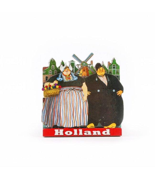 12 stuks Magneet 2D MDF dikke man en vrouw Holland