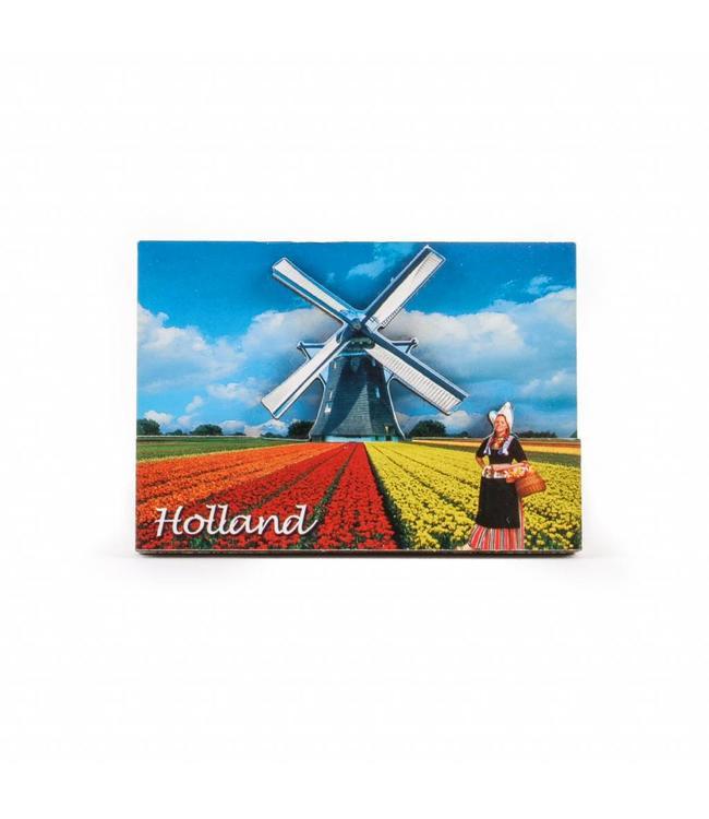 12 stuks Magneet 2D MDF tulpen en molen Holland