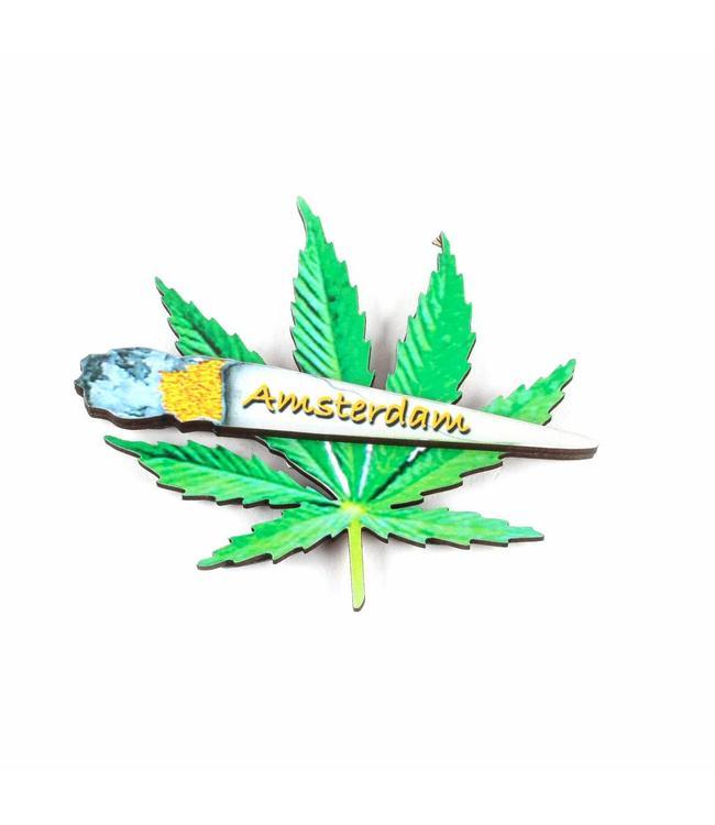 12 stuks Magneet 2D MDF Weedblad Amsterdam