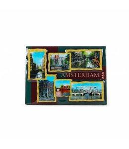 12 stuks Magneet 2D coating ansichtkaarten Amsterdam