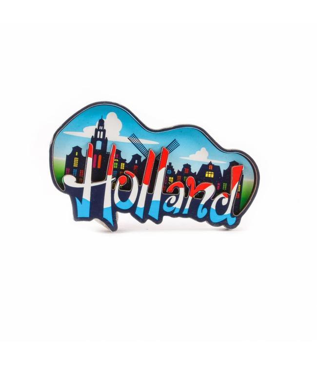 12 stuks Magneet 2D MDF wolk Holland