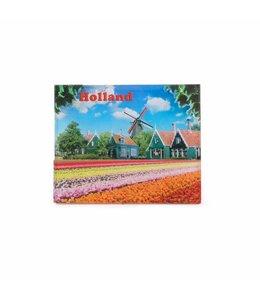 12 stuks Magneet 2D MDF dorp met tulpenveld