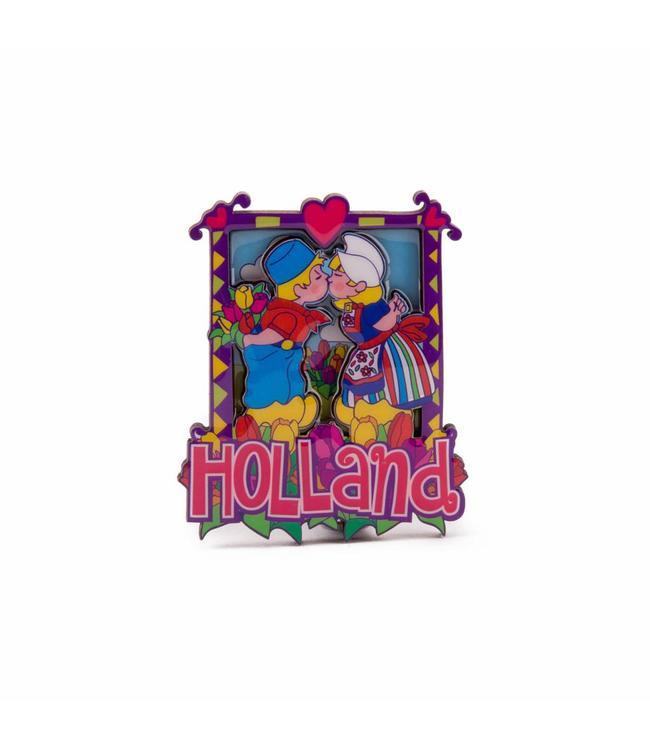 12 stuks magneet 2D MDF met coating kussend paartje Holland