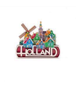 12 stuks Magneet 2D MDF coating dorpstafereel Holland