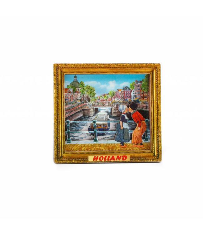 12 stuks Magneet MDF schilderij kussend paar Holland