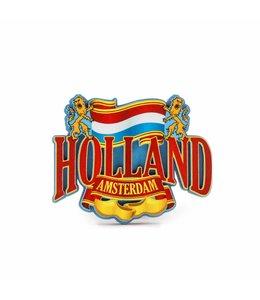 12 stuks Magneet 2D MDF vlag met leeuw Holland