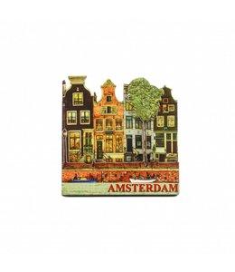 12 stuks Magneet 2D MDF 4 huisjes Amsterdam