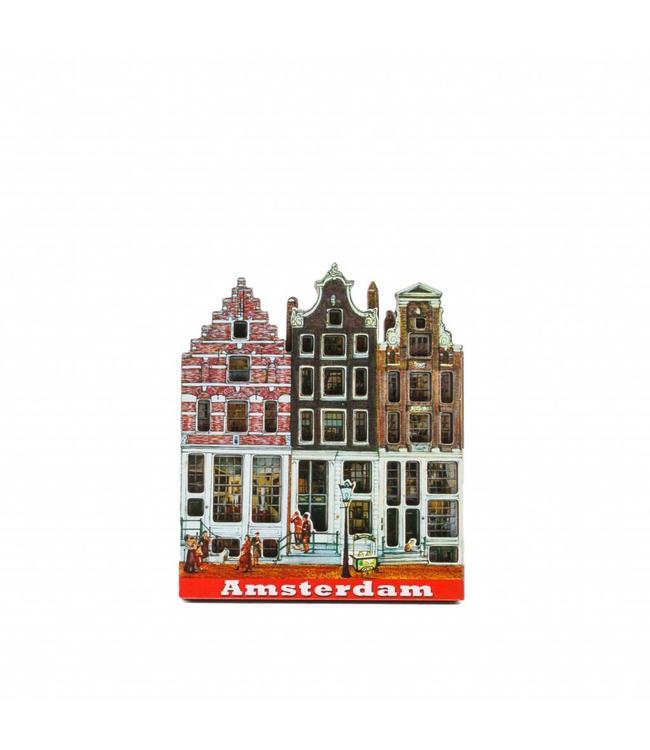 12 stuks Magneet 2D MDF 3 huisjes Amsterdam