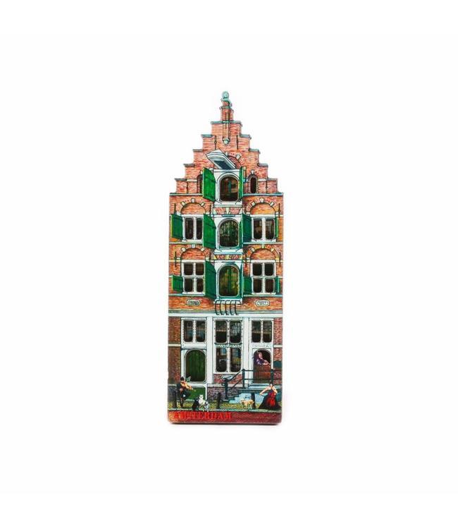 12 stuks Magneet 2D MDF huis Oude Schans Amsterdam