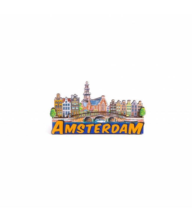 12 stuks Magneet 2D MDF compilatie oranje letters Amsterdam