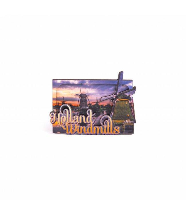 12 stuks Magneet 2D MDF compilatie Holland windmills by night