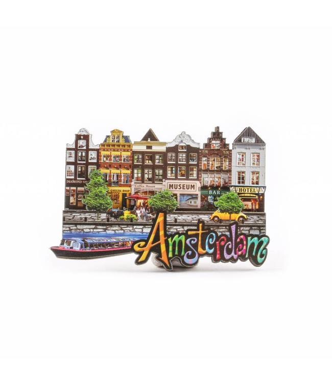 12 stuks Magneet 2D MDF 6 huisjes Amsterdam