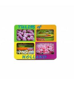 12 stuks Magneet 2D MDF 4 foto's tulpen mix Holland