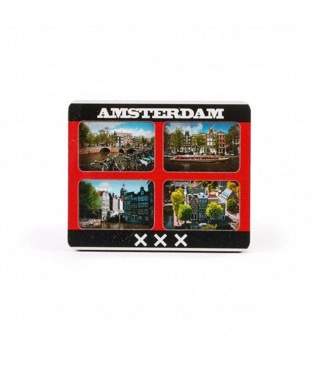 12 stuks Magneet 2D MDF 4 foto's Amsterdam mix