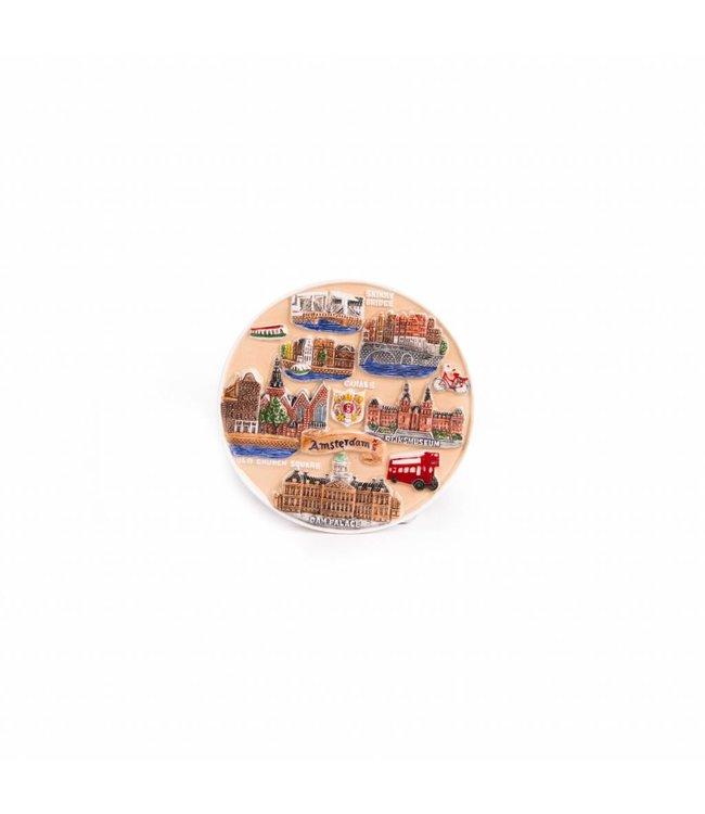 12 stuks Magneet keramiek compilatie rode bus color Amsterdam