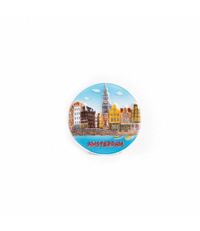 12 stuks Magneet keramiek gracht met brug Amsterdam